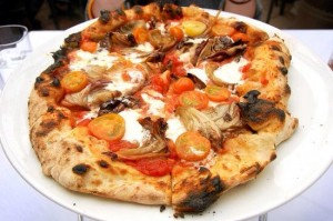 Wood burning oven pizza at Areal.
