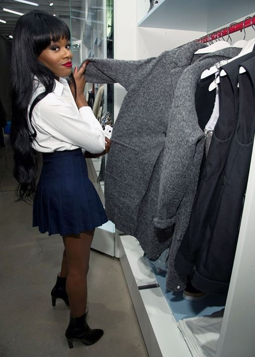 Singer-songwriter Azealia Banks checks out some Heather Grey Nasty Gal coats. Photo courtesy of Nasty Gal Melrose.