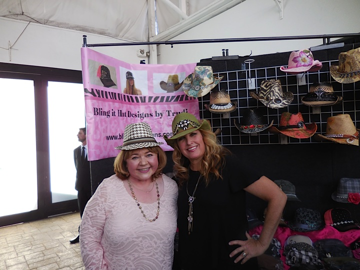Hats off to you..Actress Patrika Darbo and Trudi wear adorable hats from Bling it Hat Designs