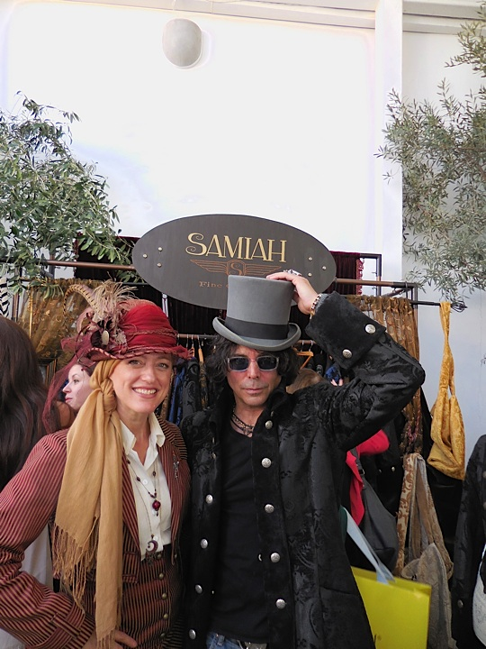 Designer Samiah Hinton and actor Richard Grieco in her stylish designs