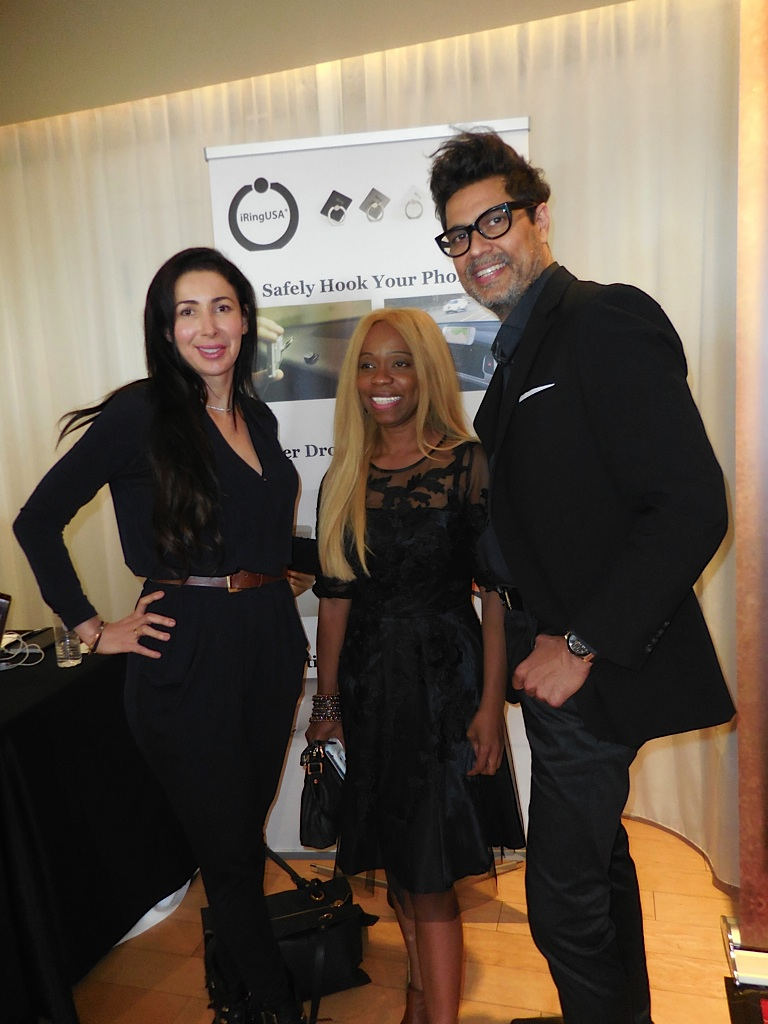 Sharona Rabeloff of Le Jolie Spa, Publicist Charmaine Blake, and Javid Myint of iRing