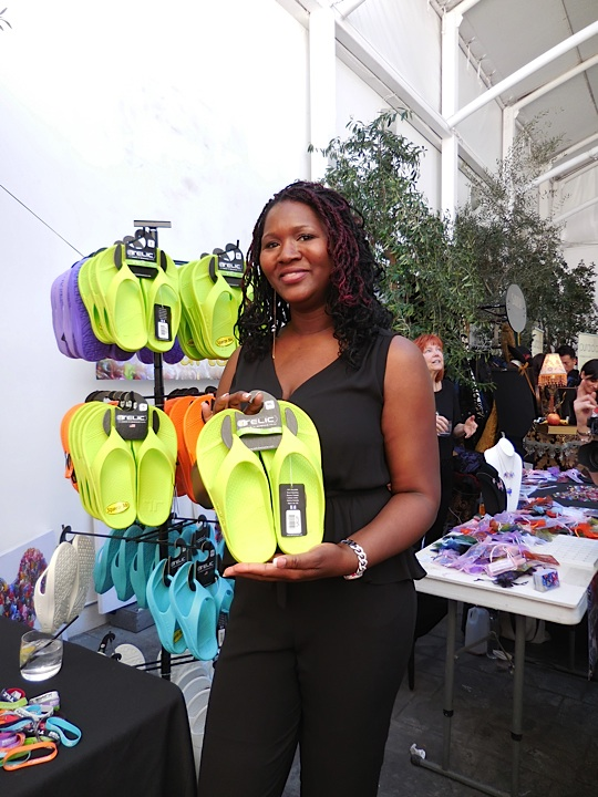 Publicist and Radio host Nicole Lester with Telic, the world's most comfy sandals