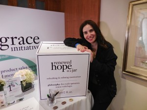 Posing with a gigantic display of one of my favorite products, Philosophy's Hope in a Jar