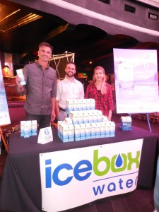 Michael Kaliski of Good Planet with Mathew Salvetti and Tina Trznadu at the Icebox water booth. Photo courtesy of Vida G.