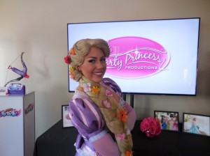 Rapunzel let down your hair! Rapunzel from Tangled at the Party Princess Productions booth