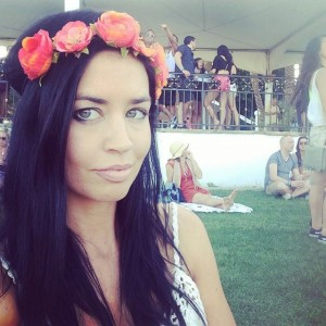 Pic with Flower Headband: The Experience contributor, Liz Fraley relaxes in the VIP area at Coachella during a stage performance by Yelle