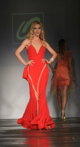 Model and actress Dustin Quick in a beautiful red gown from Quynh's couture collection. All photos courtesy of Burris Agency Staff