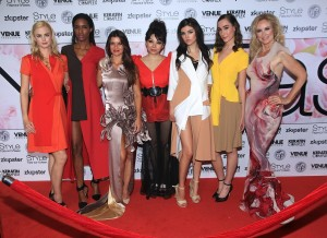 Quynh with her models and actresses Danielle Vasinova (grey gown, third from left) and Andrea Anderson (multi-colored gown far right). All photos courtesy of Burris Agency Staff.