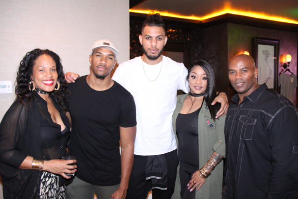 Actor Sarunas Jackson (in white) with guest at WORLDboots official Launch Party supporting Souls 4 Soles Charity
