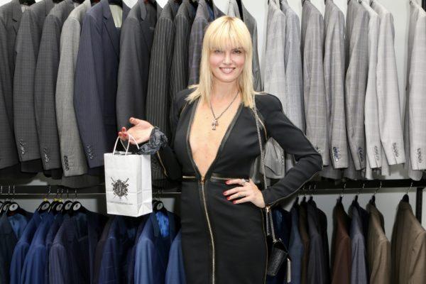 International model and actress, Eugenia Kuzmina with her VIP swag bag that included a silk tie. Photo courtesy SmugMug