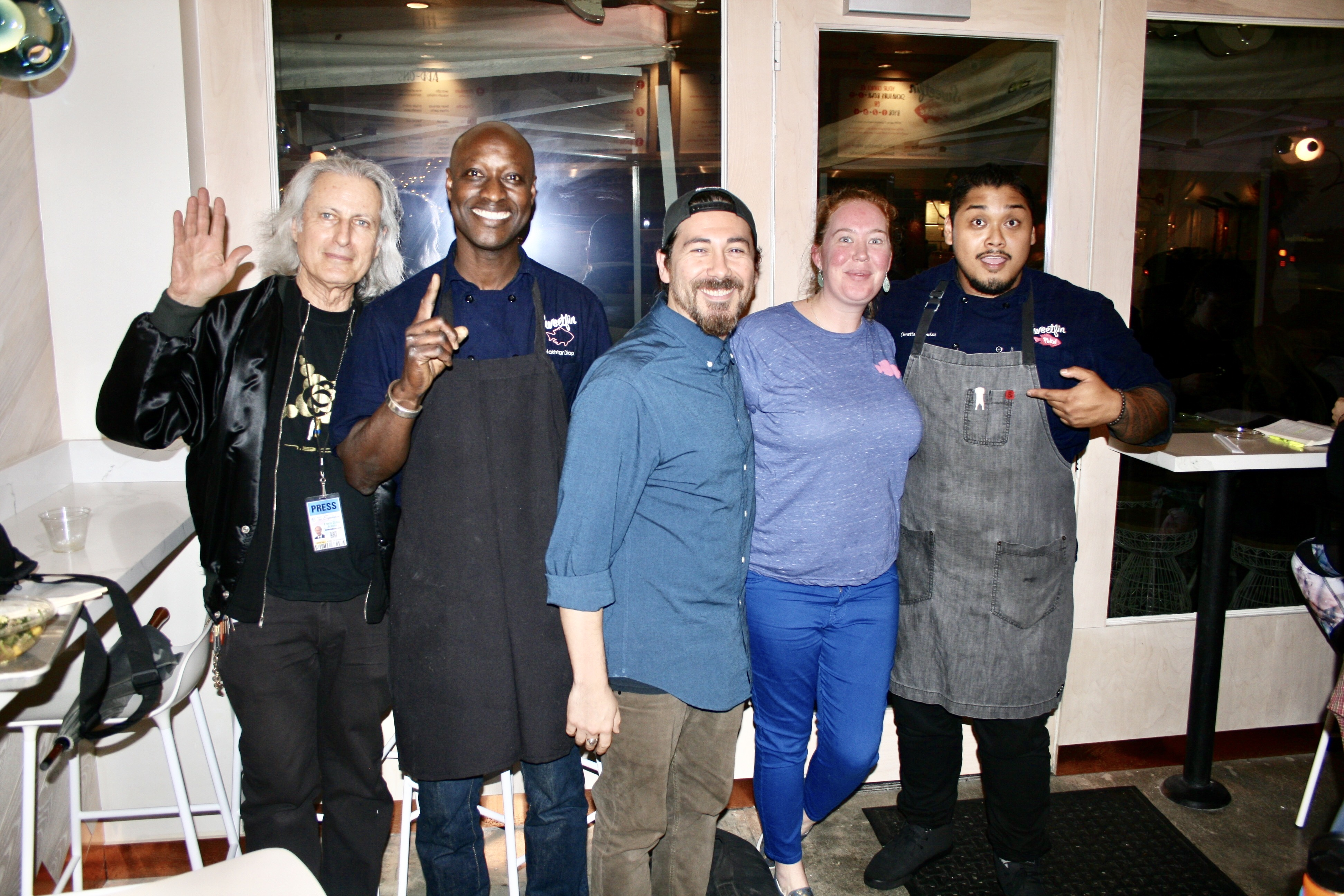 Publisher of the Experience Magazine, Erwin Glaub (left) with the Sweetfin Poké team ~ Chef Makhtar Diop (Westwood), Stephen Valdez (Westwood), Ashley Bohan (Topanga)and Christian Alquiza (Santa Monica). Photo courtesy Dustin Brown