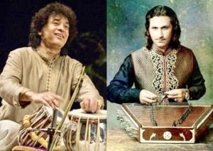 Zakir Hussain (L) and Rahul Sharma (R)
